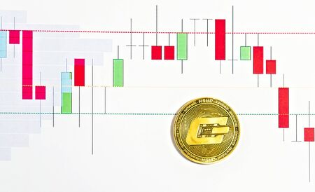 Dash crypto currency blockchain Coin. Graph of the course bitcoin crypto btc digital marketing analyzing trade statistical information from vertical bar and charts printed Stockfoto