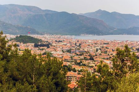 Marmaris landscape, turkish, city architecture building Turkey. sea view mountain. Archivio Fotografico - 131418316