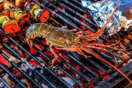 Lobster Barbecue cooking flaming grill grid Food Background Standard-Bild
