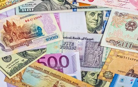 Different foreign currency luxury backround banknote money concept investment