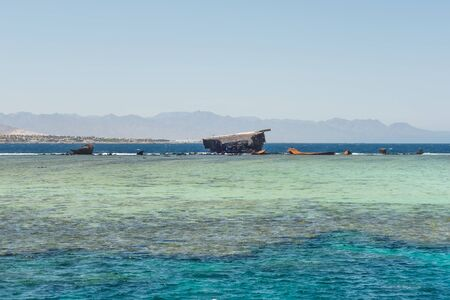 Shipwreck the old wreck of the cargo ship Lara in Bay Akaba Red sea and Tiran island near Sharm El Sheikh in Egypt
