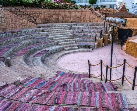 Amphitheater seat Carpet. ancient scene arena building roman theater interior design. 写真素材