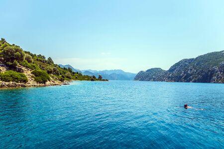 The Ionian Sea the island mountain nature landscape sea beach background