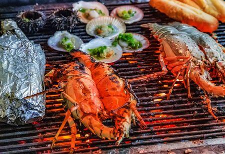Sea Food foil grilling steamed barbecue Cooking bbq Food Background Reklamní fotografie
