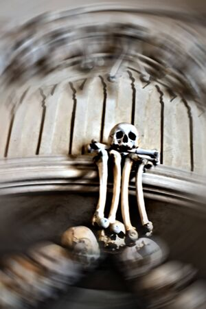 Human Skeleton bones and skulls Abstract blurry Halloween background. Banco de Imagens