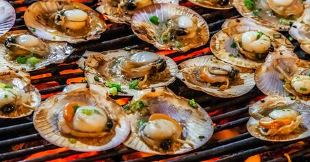 scallop seashell muscle mussel oyster Cooking Barbecue Fire Grill Close-up Black Food Background