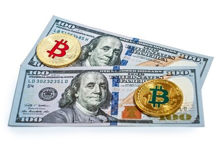 Gold bitcoin coin of U.S. dollar bills isolated on white background cryptocurrency mining concept. 版權商用圖片