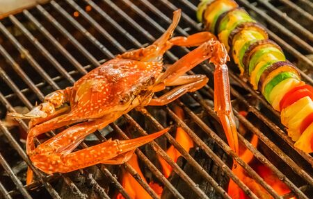 Crab Cooking bbq steamed Food Background Stock Photo