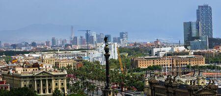 Columbus Memorial Aerial view Barcelona, Spain Stock Photo