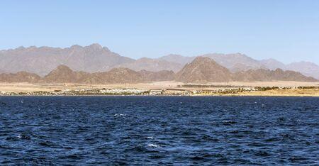 Mountains island Bay Akaba background Red sea and Tiran Kingdom Saudi Arabia, island near Sharm El Sheikh in Egypt