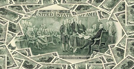 Two dollar bills set Background. Declaration of independence drawing from the back of a usd dollar bill.
