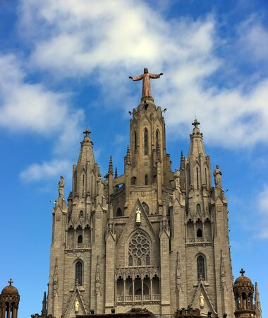 Temple of the Sacred Heart. Tibidabo Panoramic view of Barcelona summer day in Spain Stock Photo