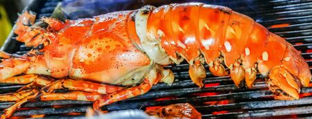 Lobster grilling steamed barbecue Cooking bbq Food Background