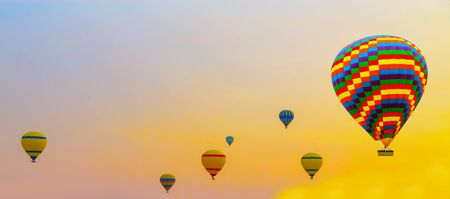 Hot air balloon flying Summer Sunset Landscape ballooning Stock fotó