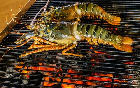 Homard Barbecue cuisson grille grillade enflammée Fond de nourriture Banque d'images