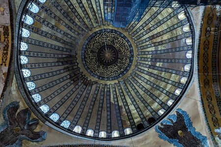 ISTANBUL, TURKEY - 1 MAY, 2014: Interior museum Hagia Sofia Mosque. The Church in Turkish is a former Byzantine church and former Ottoman mosque in Istanbul city landmark. Editorial