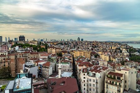 Istanbul, Turkey - May 01, 2014: Panorama sunset aerial cityscape Istanbul architecture. Galata Bridge in Golden Horn Sea. Historic center of City Istanbul Turkey.