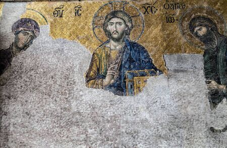 ISTANBUL, TURKEY - 1 MAY, 2014: Christian iconography, Jesus Christ Pantocrator is a specific depiction of Christ. Interior museum Hagia Sofia Mosque. The Church in Turkish Istanbul city landmark.