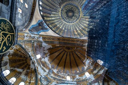 ISTANBUL, TURKEY - 1 MAY, 2014: Interior Famous Hagia Sophia in Turkish, is a former Byzantine church and former Ottoman mosque in Istanbul. Editorial