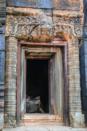 Doorway of Ancient brick Tower Prasat Pram Temple ruins of Koh Ker Siem Reap Cambodia. Angkor Cities and Temples architecture monument. Stock Photo