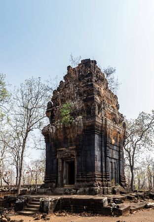 Ancient brick Tower Prasat Pram Temple ruins of Koh Ker Siem Reap Cambodia. Angkor Cities and Temples architecture monument. Archaeological Landscape of Koh Ker, Northwest Cambodia