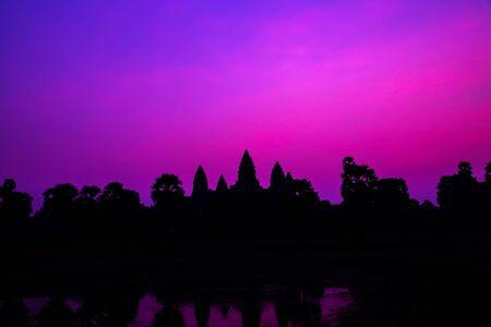 Panorama Mist sunrise tropical Angkor wat Siem Reap in Cambodia.