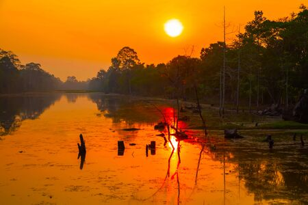 Siem Reap Cambodia Srah Srang Lake valley on sunset or sunrise