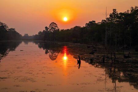 Beautiful Srah Srang Lake sunrise Siem Reap Cambodia Stok Fotoğraf