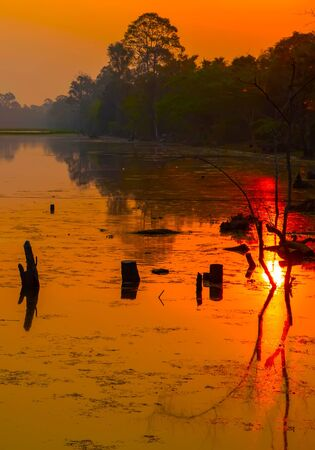 Landscape Scenic Colorful Sunset Dawn Sunrise Siem Reap Cambodia Srah Srang Lake Stock Photo
