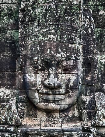 Faces Of Bayon Temple Angkor Thom Cambodia. Ancient Khmer architecture.