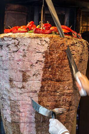 Doner Kebab meat grilled Turkish cuisine Turkey Food. moving to cut soft focus background