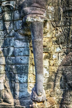 Elephant stone trunks Terrace Angkor wat Siem Reap, Cambodia.