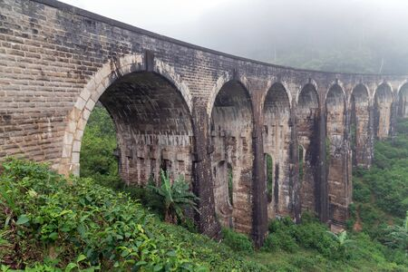 Nine Arch Bridge rainforest morning fog Sri Lanka Railway Viaduct