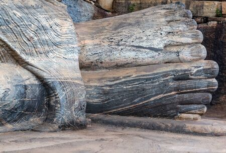 Buddha parinirvana foot in granite rock sculpture at Gal Vihara, Sri Lanka.