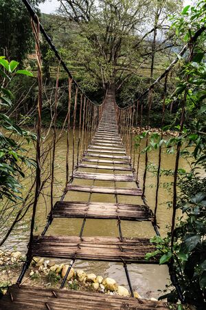 old wooden foot bridge river tropical forest