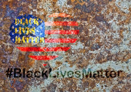 Black Lives Matter hashtag protestors anti Black racism african american people heart on United States flag stencil city street sandstone marble pattern texture 스톡 콘텐츠