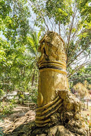 Gold sculpture of phallus Close up on Koh Samui island, Thailand