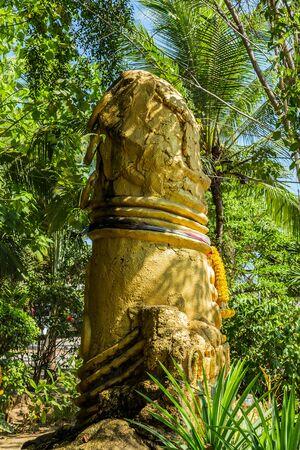 Phallic symbols decorated Gold phallus sculpture penis on Koh Samui island, Thailand