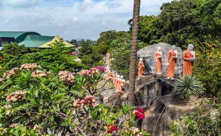 Monk buddhist walking on mountain Sri Lanka, tourist attraction