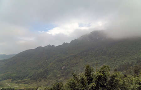 Tropical Sapa panoramic view to the majestic Landscape mountain Lao Cai Province in Vietnam