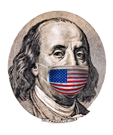 Medical mask colors of the US flag on the Benjamin Franklin concept of quarantine.