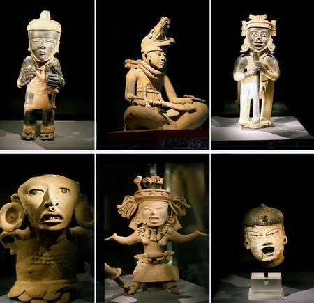 Set Ancient Mayan Clay Sculpture black background Stock fotó