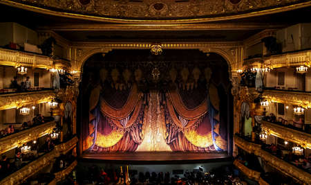 Mariinsky Theatre, theater stage of opera and ballet scene intermission in Saint Petersburg, Russia. Saint-Petersburg, Russia, July 07, 2014 Editoriali