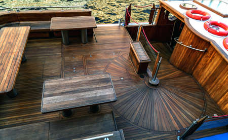 Wooden steps deck staircase cruise yacht.