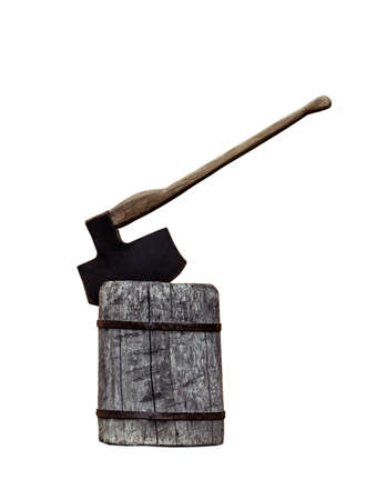 Executioner black axe on a stump isolated on white.