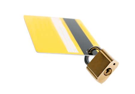 Financial economic crisis. Debit card vs credit banking card security. Padlock protection closed lockdown concept. Covid 19 Pandemic world lockdown quarantine. Standard-Bild