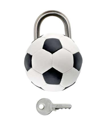 Football padlock closed game sport lockdown concept COVID-19. Pandemic world lockdown quarantine.