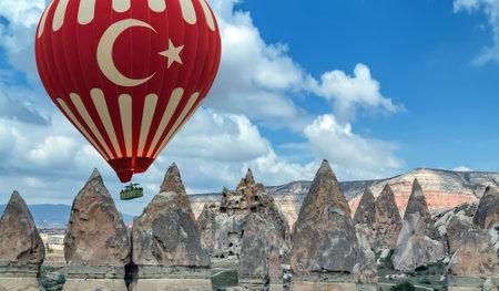 red air balloon basket flight trip Cappadocia Turkey