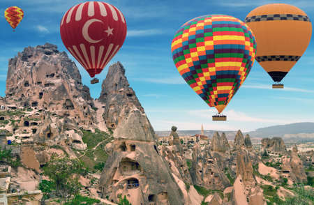 Hot Air Balloons flying travel concept