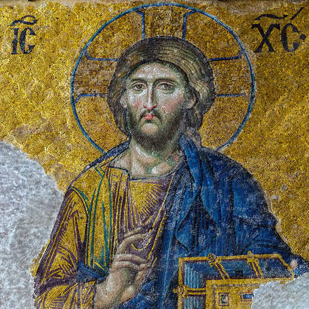 Christian mosaic icon of Jesus Christ easter symbolic. Easter card square frame background